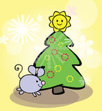 Funny mouse and christmas tree Royalty Free Stock Photo