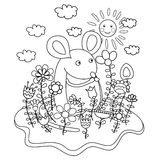 Funny mouse with flowers. Coloring book. Vector illustration Stock Photos