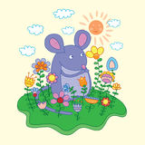 Funny mouse with flowers. Vector illustration Royalty Free Stock Photography