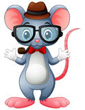 Funny mouse hipster with glasses and bow tie. Illustration of Funny mouse hipster with glasses and bow tie Royalty Free Stock Photography