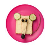 Funny mouse made of bread and cheese Royalty Free Stock Photos