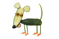 Funny mouse made of cucumber on isolated background. Mouse made with cucumber, carrot, onion, corn, radish, olive. Shot with Canon 5D, ISO 100 on isolated Stock Image
