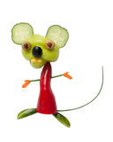 Funny mouse made of pepper and cucumber. On isolated background Royalty Free Stock Photo