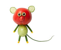 Funny mouse made of red and green tomato. On white background Royalty Free Stock Images