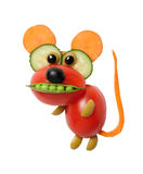 Funny mouse made of vegetables on isolated background. Mouse made of olive, tomato, carrot, pea and cucumber. Fun way for decorating table for kids. Shot with Stock Photography