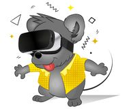 Funny comic mouse using virtual reality glasses. Future technology. Cute animal Playing Video Game. Modern 3d Glasses. Vector Illu royalty free illustration