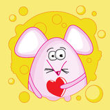 Funny mouse with Valentine inside the cheese Stock Photography