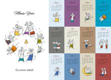 Free Funny Mouses Party, Symbol Of 2020 Year. Calendar Design Stock Photography - 163142772