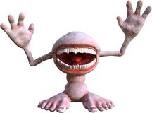 Funny Mouth Monster Man Isolated Royalty Free Stock Images