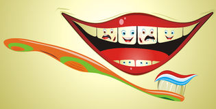 Funny Mouth With Toothbrush. Cartoon illustration from teeth care concept, mouth with funny teeth and toothbrush Royalty Free Stock Images