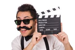 Funny with movie clapper isolated on white Royalty Free Stock Photo