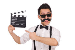 Funny with movie clapper isolated on white Stock Photo