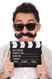 Funny with movie clapper isolated on the white Royalty Free Stock Photography