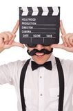 Funny with movie clapper isolated on the white Stock Photography