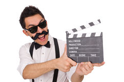 Funny with movie clapper isolated on the white Stock Photo