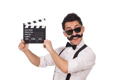 Funny with movie clapper isolated on the white Stock Image