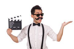 Funny with movie clapper isolated on white Stock Photos