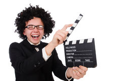 Funny movie director. Isolated on white Stock Photo