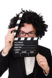 Funny movie director. Isolated on white Stock Image