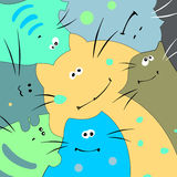 Funny multicolored cats. Royalty Free Stock Images