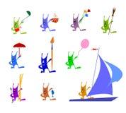 Funny multicolored rabbits with different objects. Set of funny multicolored rabbits. Each of funny multicolored rabbits has different things: brush, ballon Stock Photo