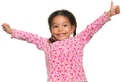 Funny multiracial small girl opening her arms wide Stock Photography