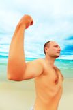 Funny muscular man Stock Photos