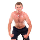 Funny muscular sports man Royalty Free Stock Image
