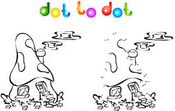 Funny mushroom house dot to dot. Funny mushroom house. Vector illustration for children dot to dot Stock Photography