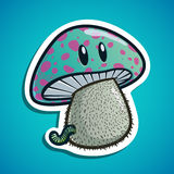 Funny mushroom with worm Royalty Free Stock Photo