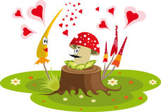 Funny mushrooms in the grass. Colorful vector with love mushrooms Stock Photography