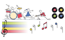 Funny music group. Pop group with drums, vocals and guitar Stock Images