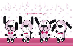 Funny music puppy. Four little funny puppyes, happy birthday to you Royalty Free Stock Photography