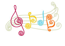 Funny musical notes. Vector illustrations of musical lines, notes and clef Stock Image