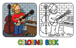 Funny musician or guitarist. Coloring book. Coloring book of funny musician or guitarist or artist with guitar on wall background near small piano and contrabass Stock Photography