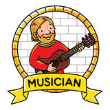 Funny musician or guitarist Profession ABC series Royalty Free Stock Photos
