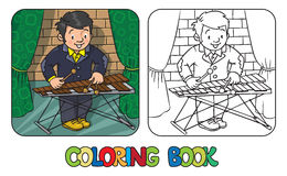 Funny musician or xylophone player. Coloring book. Coloring book of funny musician or xylophone player. Profession series. Children  illustration Stock Photography