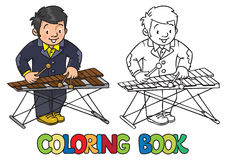 Funny musician or xylophone player. Coloring book Royalty Free Stock Images