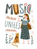 Funny musicians - young girl and cat sing a duet. Vector illustration for music festival with lettering - `Music unites`. royalty free illustration