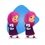 Funny Muslim little girl going with a book royalty free illustration
