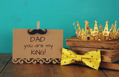 Funny mustache, greeting card, bow and king crown. Father& x27;s day Royalty Free Stock Image