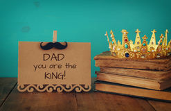 Funny mustache, greeting card and king crown. Father& x27;s day conce Stock Image