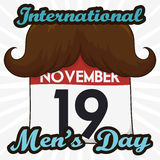 Funny Mustached Loose-leaf Calendar Commemorating International Men`s Day. Poster with funny loose-leaf calendar with a mustache to commemorate International Men Royalty Free Stock Image