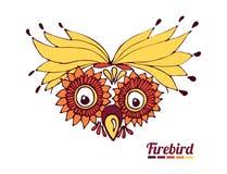 Funny muzzle firebird. a fantastic parrot or an owl. Vector Stock Photography