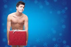 Funny naked christmass man Royalty Free Stock Photo