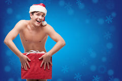 Funny naked christmass man Royalty Free Stock Images
