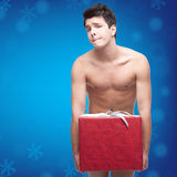 Funny naked christmass man Stock Photo