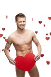 Funny Naked Man Holding Big Red Paper Heart Royalty Free Stock Images