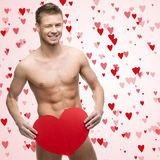 Funny naked man. Holding red heart Stock Images