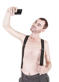 Funny naked man taking selfie isolated Stock Photo